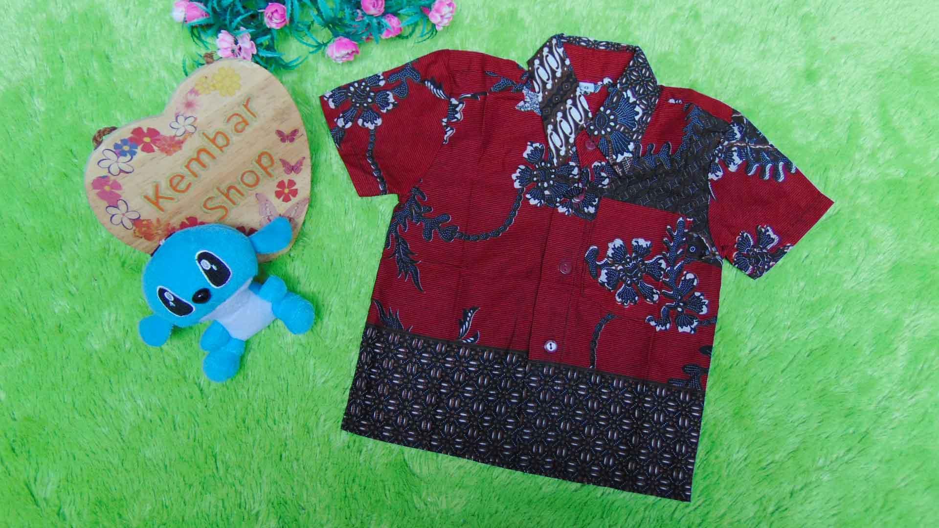 baju batik bayi anak laki-laki kemeja batik bayi hem anak cowok uk 0-2th baju pesta motif kembang maroon ireng tumpal 30 lebar dada 28cm, panjang ke bawah 35cm,