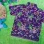 baju batik bayi anak laki-laki kemeja batik bayi hem anak cowok uk 0-2th baju pesta motif vas ungu 30 lebar dada 28cm, panjang ke bawah 35cm,