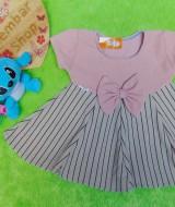dress baju pesta anak bayi perempuan cewek newborn 0-6bulan pita pastel salur maroon 25 bahan wafel lembut,nyaman untuk bayi, lebar dada 25cm, panjang 35cm, slkn dcocokkan dg uk baby