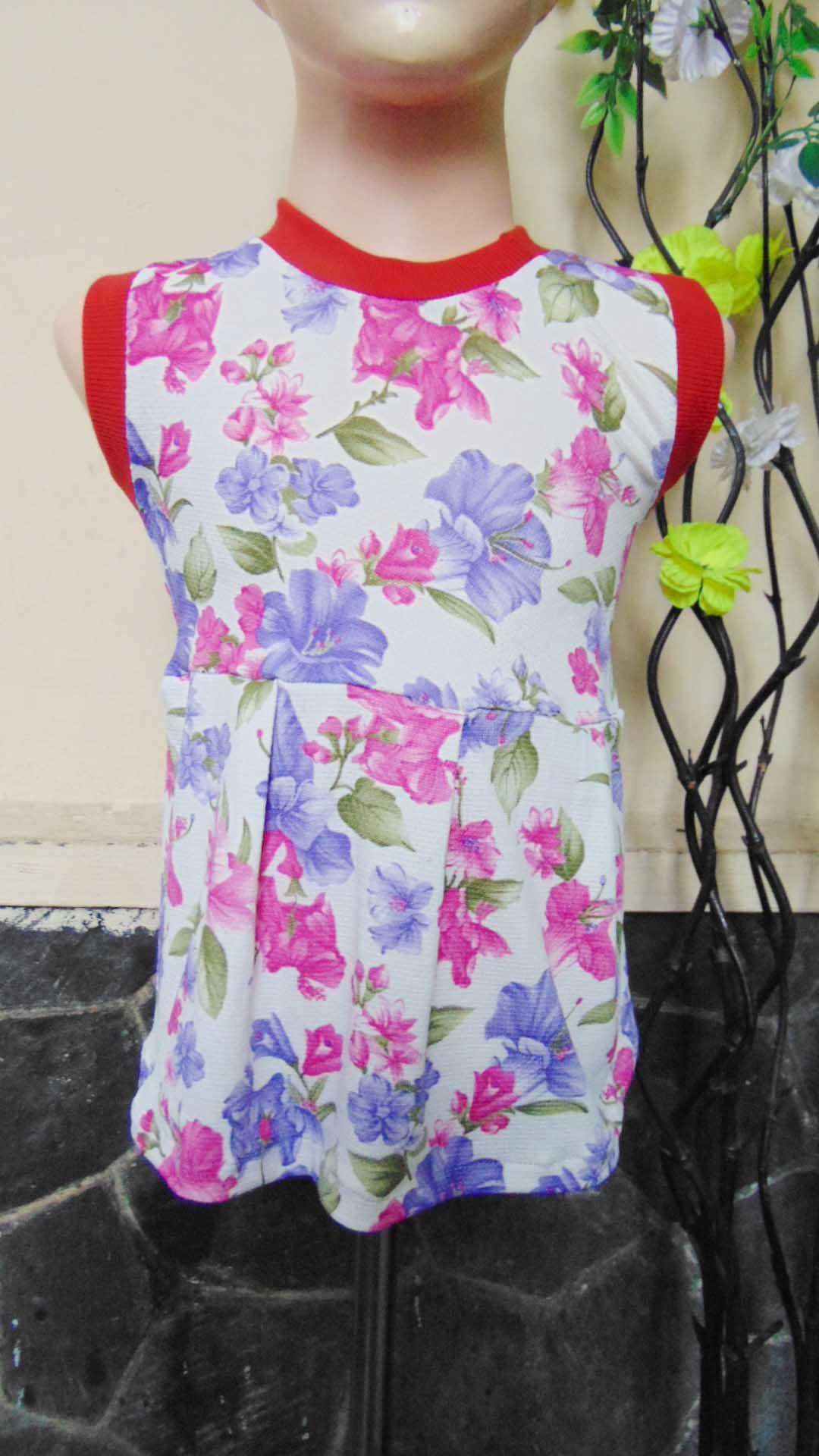 Dress bayi perempuan alisa 0-12bulan lengan kutung pink purple 22 Lebar dada 26cm, Panjang baju 38cm,