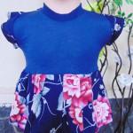 Dress bayi perempuan alisa 0-12bulan lengan pendek navy bunga