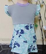 Dress bayi perempuan alisa 6-18bulan lengan pendek mint floral 25 Lebar dada 26cm, Panjang baju 41cm, silakan dicocokkan dg uk baby krn usia hny estimasi, bahan adem lembut nyaman untuk harian,