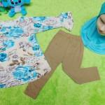 PLUS HIJAB setelan baju legging muslim anak Aisyah gamis bayi 0-12bulan plus jilbab cokelat bunga biru 55 lebar dada 29cm, panjang baju 36cm, panjang celana 38cm