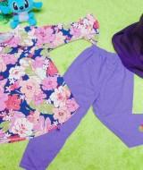 PLUS HIJAB setelan baju legging muslim anak Aisyah gamis bayi 1-2th plus jilbab bunga ungu 59 lebar dada 30cm, panjang baju 41cm, panjang celana 49cm