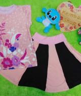 Setelan rok mini bayi perempuan azizah 1-2th lengan pendek peach black 30 Lebar dada 28cm, Panjang baju 38cm, Panjang rok 30cm