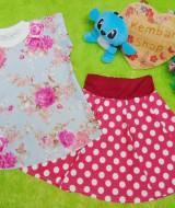 Setelan rok mini bayi perempuan azizah 1-2th lengan pendek pink flower 30 Lebar dada 28cm, Panjang baju 37cm, Panjang rok 31cm