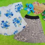 Setelan rok mini bayi perempuan azizah 2-3th lengan pendek blue flower 32 Lebar dada 31cm, Panjang baju 36cm, Panjang rok 35cm