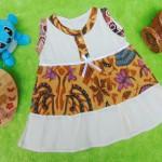 dress batik cewek baju batik bayi perempuan 0-6bulan pita lengan kutung motif kembang cokelat