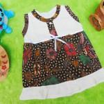 dress batik cewek baju batik bayi perempuan 0-6bulan pita lengan kutung motif kembang pari