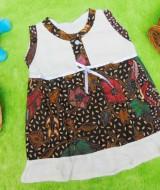 dress batik cewek baju batik bayi perempuan 0-6bulan pita lengan kutung motif kembang pari 25 lebar dada 26cm , panjang baju 37cm, bahan adem lembut, ada kancing hidup, cocok utk harian