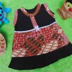 dress batik cewek baju batik bayi perempuan 0-6bulan pita lengan kutung motif parang campur