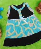 dress batik cewek baju batik bayi perempuan 0-6bulan pita lengan kutung motif sulur tosca 25 lebar dada 25cm , panjang baju 37cm, bahan adem lembut, ada kancing hidup, cocok utk harian