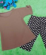 setelan baju bayi perempuan cewek 0-12bulan plus legging motif cokelat polkadot