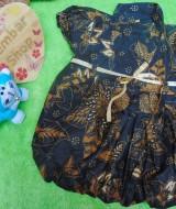 Dress baju pesta batik balon anak bayi perempuan 0-9bulan motif kembang ireng