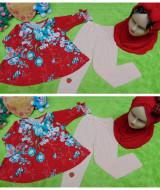 FOTO UTAMA 1PLUS HIJAB setelan baju legging muslim anak Azzahra gamis bayi 6-18bulan plus jilbab flower red 57 lebar dada 27cm, panjang baju 37cm, panjang celana 52cm (3)