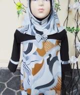 PALING MURAH Baju Muslim Gamis Aisyah Anak Bayi Perempuan 1-2th Plus Hijab Abstrak black 45 Lebar Dada 32cm, Panjang 51cm