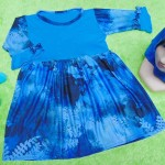 PALING MURAH Baju Muslim Gamis Aisyah Anak Bayi Perempuan 1-2th Plus Hijab blue paint