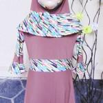 PALING MURAH Baju Muslim Gamis Aisyah Anak Bayi Perempuan 1-2th Plus Hijab cokelat pastel