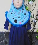 PALING MURAH Baju Muslim Gamis Aisyah Anak Bayi Perempuan 1-2th Plus Hijab denim love 45 Lebar Dada 29cm, Panjang 53cm