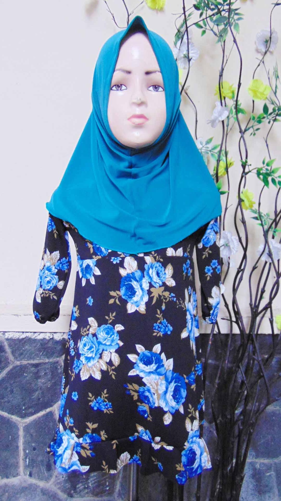 PALING MURAH Baju Muslim Gamis Aisyah Anak Bayi Perempuan 1-2th Plus Hijab floral beautiful blue 45 Lebar Dada 29cm, Panjang 52cm