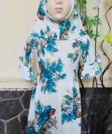 PALING MURAH Baju Muslim Gamis Aisyah Anak Bayi Perempuan 1-2th Plus Hijab green choco flowers 45 Lebar Dada 28cm, Panjang 59cm