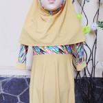 PALING MURAH Baju Muslim Gamis Aisyah Anak Bayi Perempuan 1-2th Plus Hijab kuning pastel