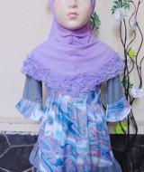 PALING MURAH Baju Muslim Gamis Aisyah Anak Bayi Perempuan 6-18bulan Plus Hijab abstrak purple 2 44 Lebar Dada 27cm, Panjang baju 49cm, usia hanya estimasi, silahkan cocokkan dengan ukuran anak anda,