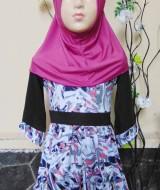 PALING MURAH Baju Muslim Gamis Aisyah Anak Bayi Perempuan 6-18bulan Plus Hijab abstrak purple 44 Lebar Dada 26cm, Panjang baju 52cm, usia hanya estimasi, silahkan cocokkan dengan ukuran anak anda,