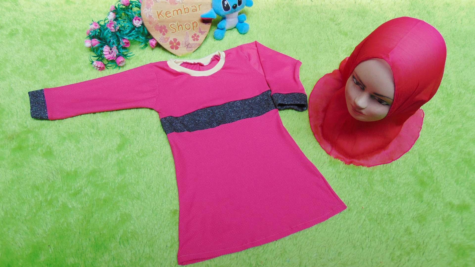 PALING MURAH Baju Muslim Gamis Aisyah Anak Bayi Perempuan 6-18bulan Plus Hijab khimar 44 Lebar Dada 28cm, Panjang 47cm