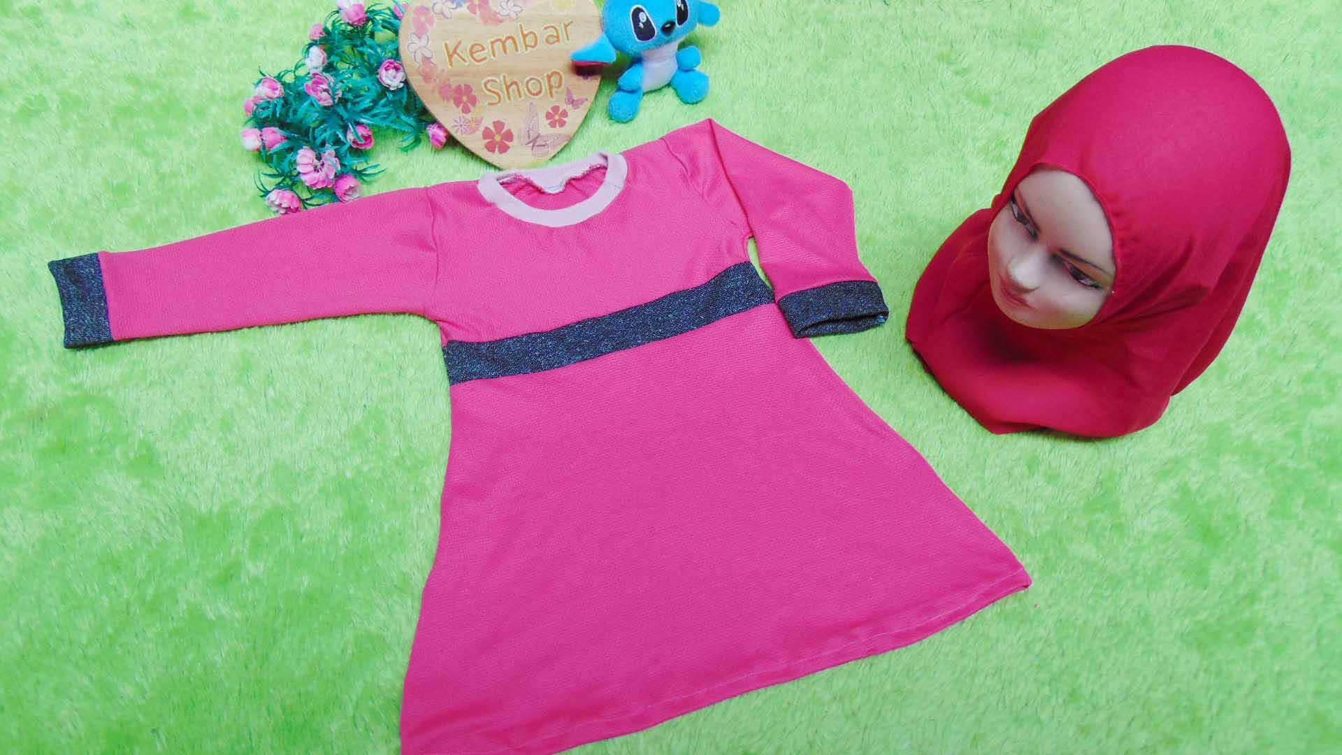 PALING MURAH Baju Muslim Gamis Aisyah Anak Bayi Perempuan 6-18bulan Plus Hijab khimar2 44 Lebar Dada 28cm, Panjang 46cm