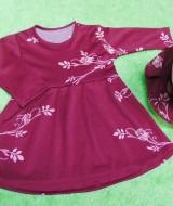 PALING MURAH Baju Muslim Gamis Aisyah Anak Bayi Perempuan 6-18bulan Plus Hijab maroon bunga 44 Lebar Dada 27cm, Panjang 45cm