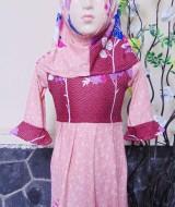 PALING MURAH Baju Muslim Gamis Aisyah Anak Bayi Perempuan 6-18bulan Plus Hijab maroon peach 44 Lebar Dada 26cm, Panjang 52cm