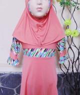 PALING MURAH Baju Muslim Gamis Aisyah Anak Bayi Perempuan 6-18bulan Plus Hijab peach pastel 44 Lebar Dada 28cm, Panjang 52cm