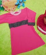 PALING MURAH Baju Muslim Gamis Aisyah Anak Bayi Perempuan 6-18bulan Plus Hijab pink mutiara 44 Lebar Dada 28cm, Panjang 48cm