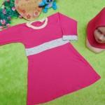 PALING MURAH Baju Muslim Gamis Aisyah Anak Bayi Perempuan 6-18bulan Plus Hijab pink putih 44 Lebar Dada 28cm, Panjang 49cm
