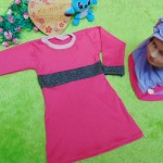PALING MURAH Baju Muslim Gamis Aisyah Anak Bayi Perempuan 6-18bulan Plus Hijab pink ungu 44 Lebar Dada 26cm, Panjang 49cm