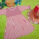 PALING MURAH Baju Muslim Gamis Aisyah Anak Bayi Perempuan 6-18bulan Plus Hijab salur peach 44 Lebar Dada 27cm, Panjang 51cm