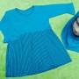 PALING MURAH Baju Muslim Gamis Aisyah Anak Bayi Perempuan 6-18bulan Plus Hijab salur tosca 44 Lebar Dada 30cm, Panjang 46cm