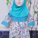 PALING MURAH Baju Muslim Gamis Aisyah Anak Bayi Perempuan 6-18bulan Plus Hijab tosca vintage 44 Lebar Dada 28cm, Panjang 52cm