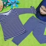 PLUS HIJAB setelan baju legging muslim anak Aisyah gamis bayi 0-12bulan jilbab navy n stripe