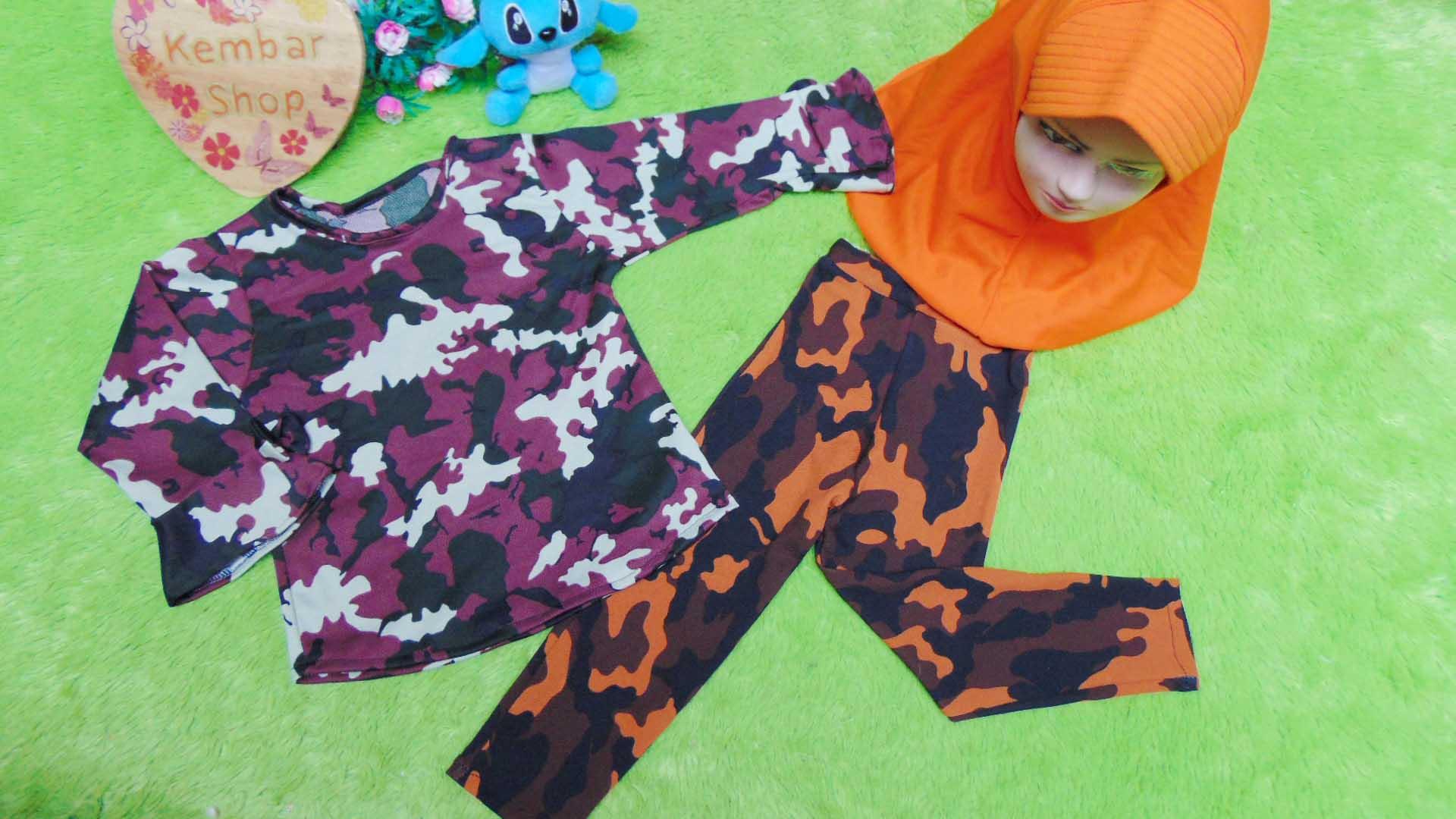 PLUS HIJAB setelan baju legging muslim anak Aisyah gamis bayi 1-2th jilbab army 59 lebar dada 28cm, panjang baju 36cm, panjang celana 48cm