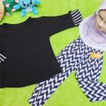 PLUS HIJAB setelan baju legging muslim anak Aisyah gamis bayi  1-2th jilbab pita monokrom