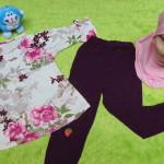 PLUS HIJAB setelan baju legging muslim anak Azzahra gamis bayi 1-2th plus jilbab flower pink ungu