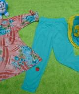 PLUS HIJAB setelan baju legging muslim anak Azzahra gamis bayi 6-18bulan plus jilbab flower peach tosca 57 lebar dada 29cm, panjang baju 34cm, panjang celana 47cm