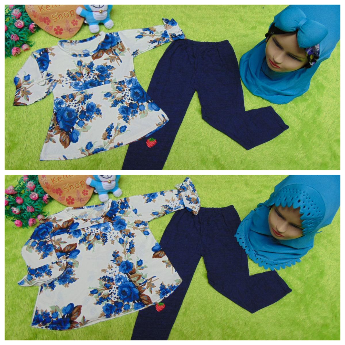 foto utama PLUS HIJAB setelan baju legging muslim anak Azzahra gamis bayi 6-18bulan plus jilbab flower navy 57 lebar dada 28cm, panjang baju 37cm, panjang celana 48cm