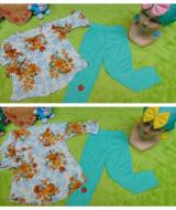 foto utama PLUS TURBAN setelan baju legging muslim anak Azzahra bayi 6-18bulan flower blue tosca 57 lebar dada 29cm, panjang baju 33cm, panjang celana 52cm