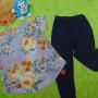 setelan baju bayi perempuan cewek 0-12bulan plus legging motif 37 lebar dada 29cm, panjang baju 37cm, panjang celana 49cm,