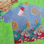 Baju batik bayi anak laki-laki kemeja batik batita hem anak cowok 2-4th baju pesta motif ceplok biru