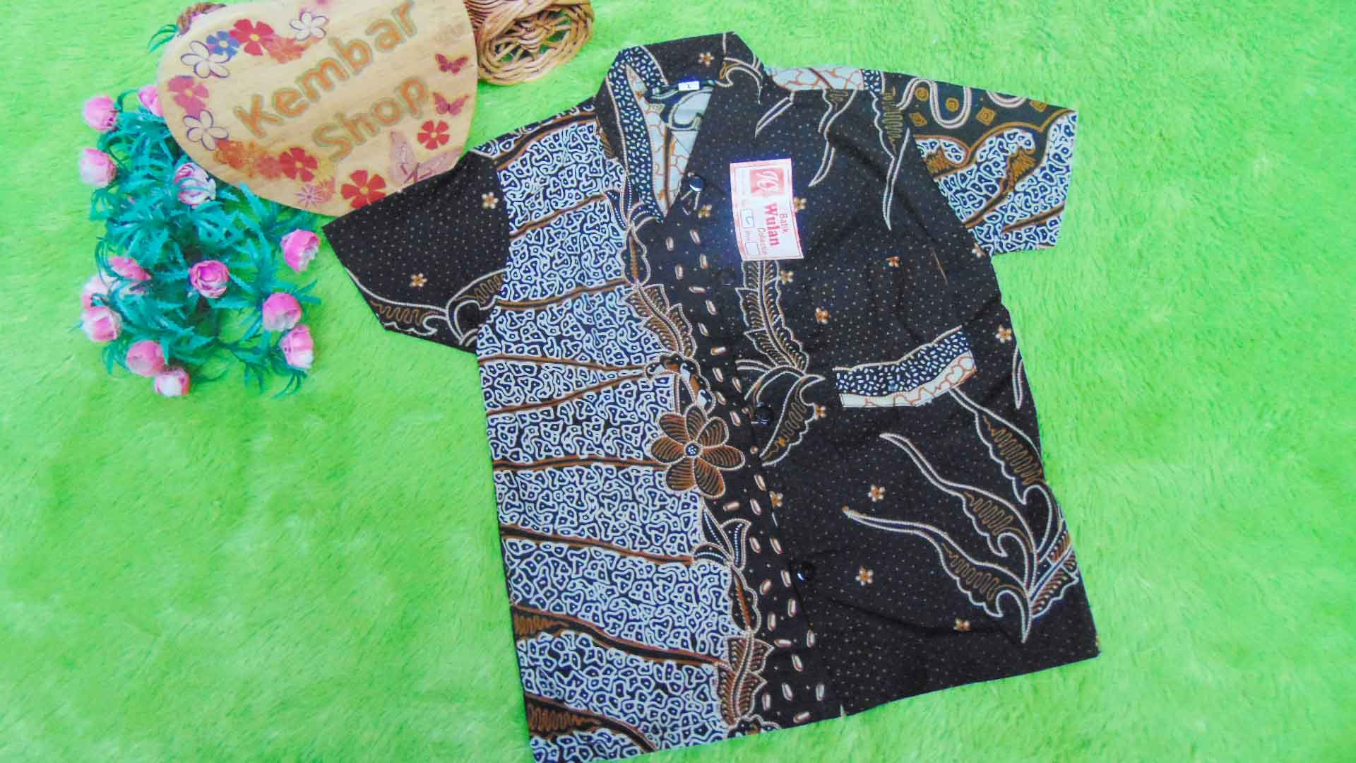 Baju batik bayi anak laki-laki kemeja batik batita hem anak cowok 2-4th baju pesta motif mozaik