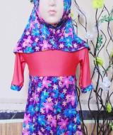 PALING MURAH Baju Muslim Gamis Aisyah Anak Bayi Perempuan 0-12bulan Plus Hijab purple neon 43 Lebar Dada 27cm, Panjang 47cm